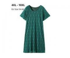 Women Short Sleeves Summer Dresses Femme Vintage Green Lace Clothing A-line Slim Dress For Mujers