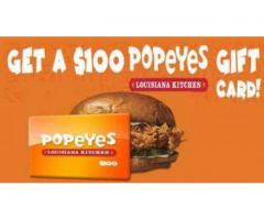 100$ Popeyes gift card