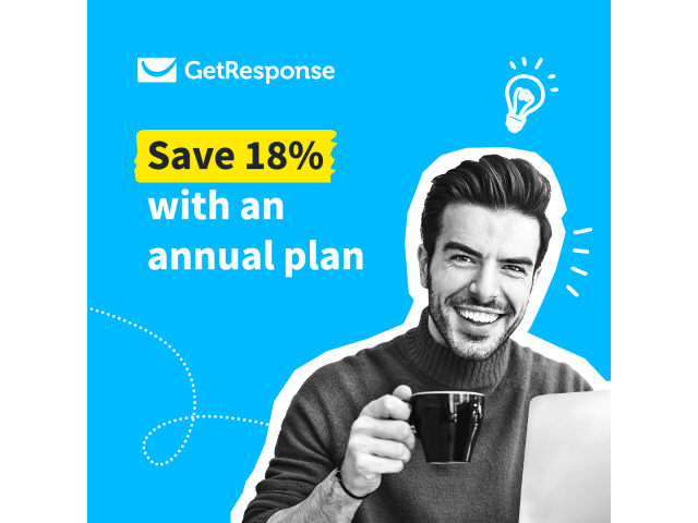 Save 18% with an annual plan of GetResponse email marketing