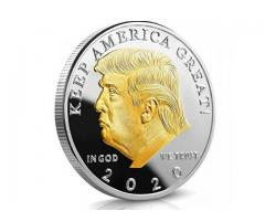 GOLD AND SILVER PLATED PRESIDENT TRUMP 2020 COIN