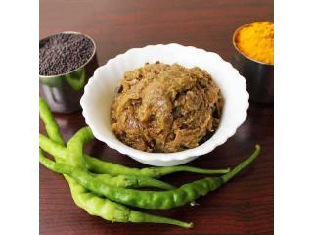 Green Chili Without Garlic Pickle (Premium Quality)